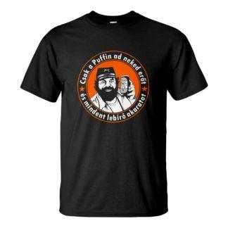 Férfi Puffin póló rendelés fekete színben - Bud Spencer Puffin lekvárral a Kincs ami nincs filmből