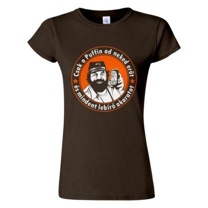 Csoki barna női póló - Bud Spencer Puffin lekvárral a Kincs ami nincs filmből