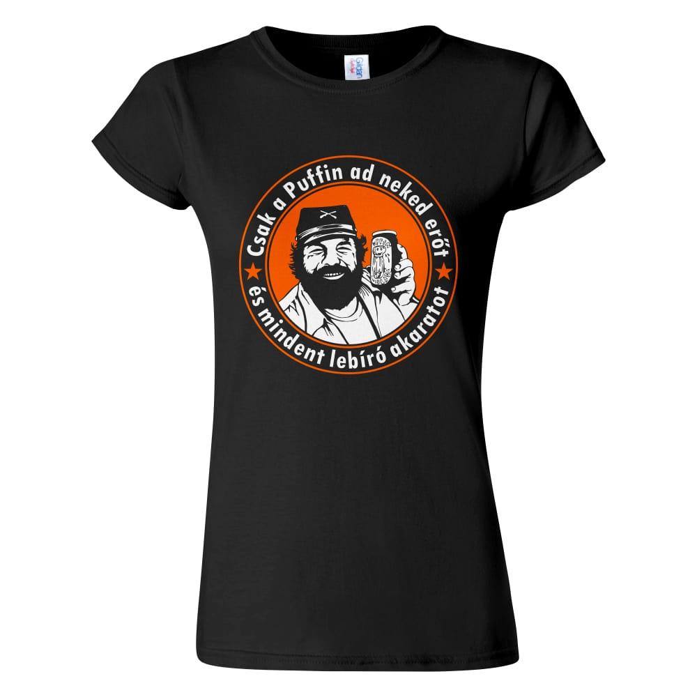 Fekete női póló - Bud Spencer Puffin lekvárral a Kincs ami nincs filmből