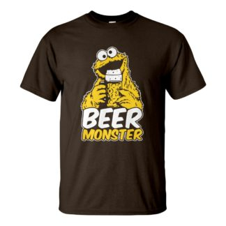 Férfi Beer Monster póló csoki barna színben - Muppet Sörszörny póló