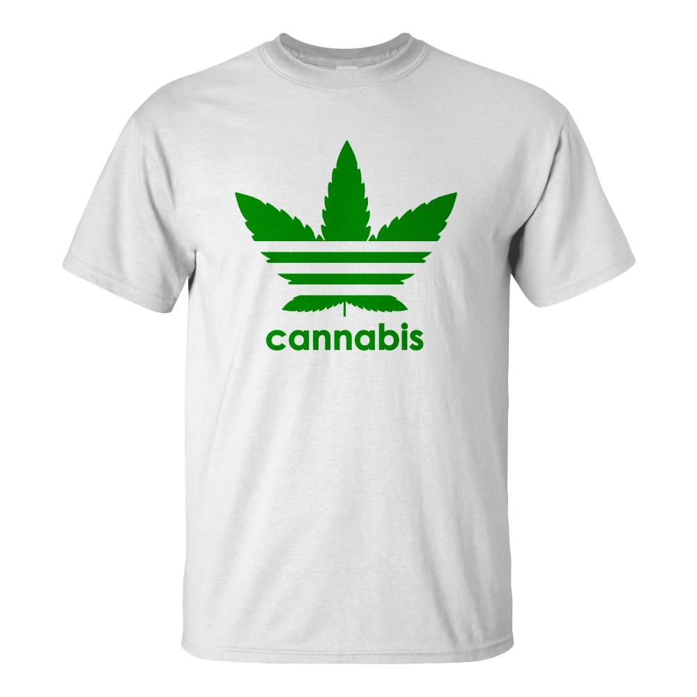 Férfi cannabis póló fehér színben - Három csíkos vadkender levél - Marihuana