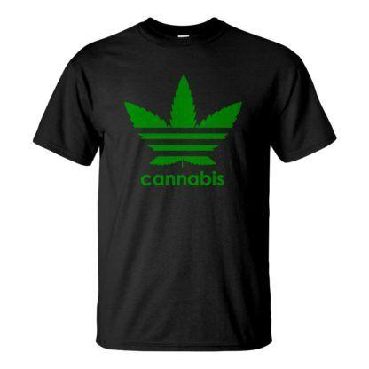 Férfi cannabis póló fekete színben - Három csíkos kender levél - Marihuána