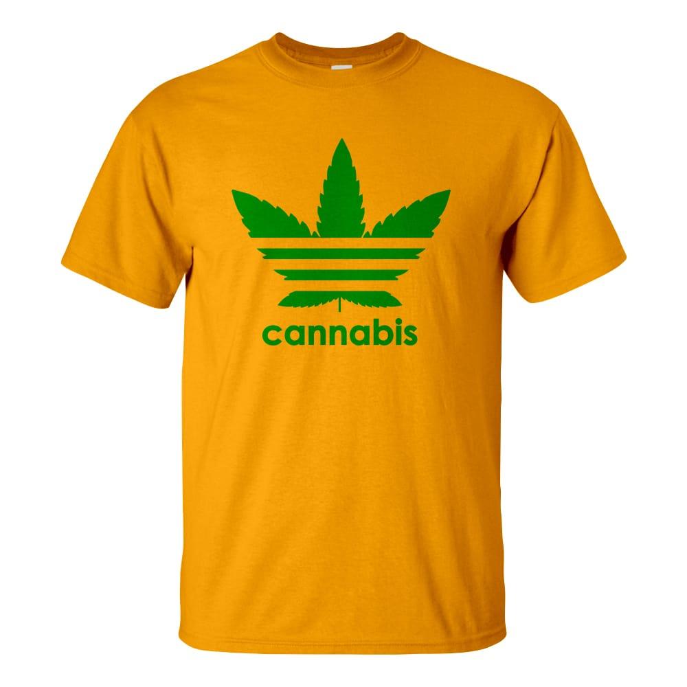 Férfi cannabis póló sárga színben - Három csíkos vadkender levél - Marihuána