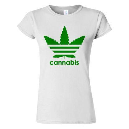 Női cannabis póló fehér színben - Három csíkos vadkender levél - Marihuána
