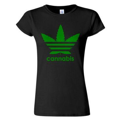 Fekete női cannabis póló - Három csíkos kender levél - Marihuana