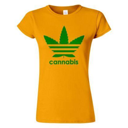 Női cannabis póló sárga színben - Három csíkos vadkender levél - Marihuana