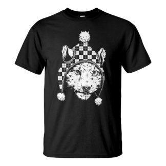 Férfi hópárduc póló fekete színben - Snow leopard póló