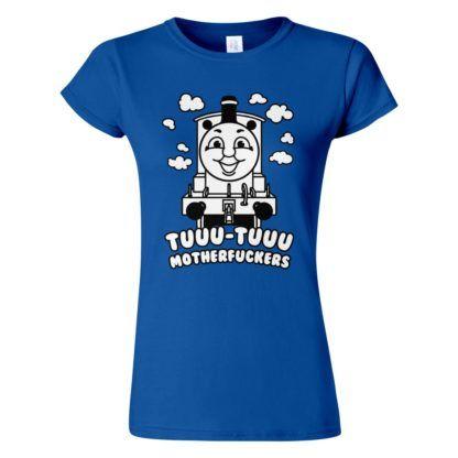 Női Thomas póló kék színben - Thomas a gőzmozdony nagyoknak: Tuuu-tuuu motherfuckers