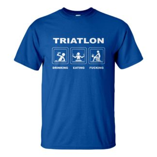 Férfi triatlon póló kék színben - Triatlon: Drinking Eating Fucking