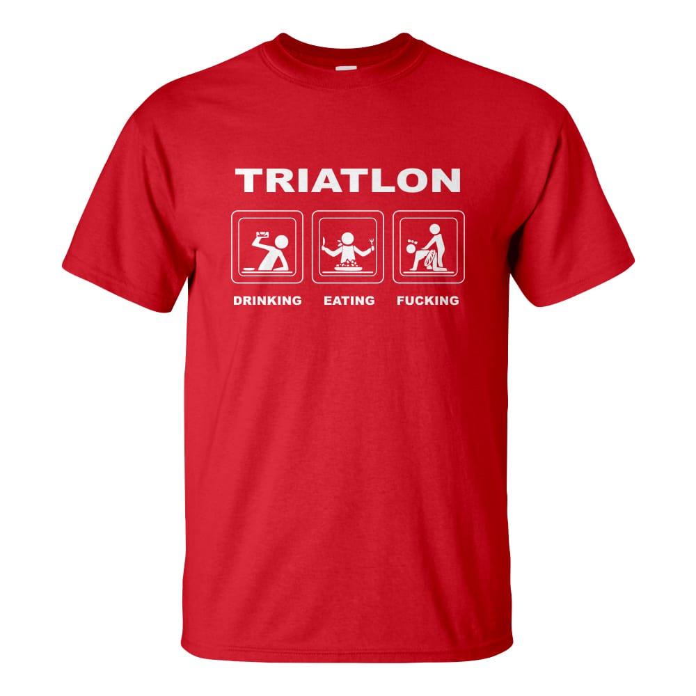 f3191bd1f0 Férfi triatlon póló piros színben - Triatlon: Drinking Eating Fucking