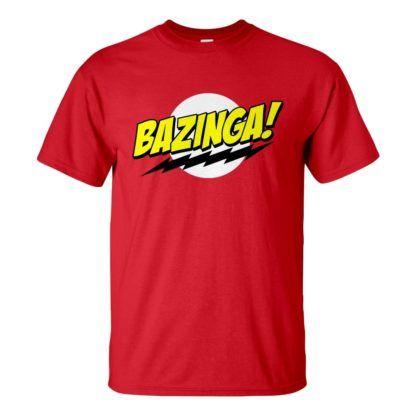 Férfi Bazinga póló piros színben - Agymenők póló - The Big Bang Theory