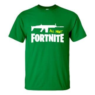 Férfi fortnite póló zöld színben - All night fortnite!