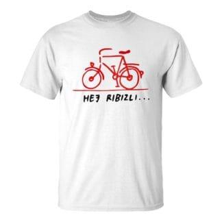 Férfi piros bicikli póló fehér színben - Hej ribizli