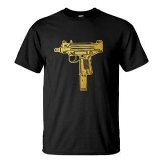 Férfi UZI póló fekete színben - Arany Mini UZI
