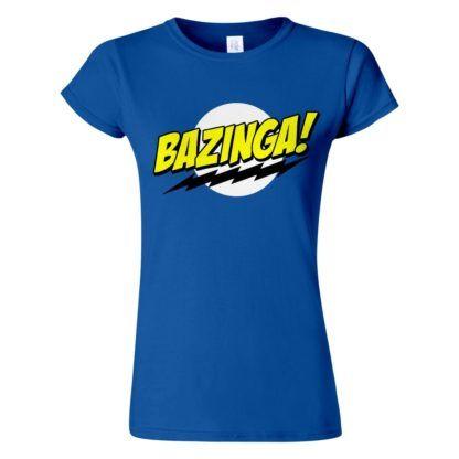 Női Bazinga póló kék színben - Agymenők póló - The Big Bang Theory