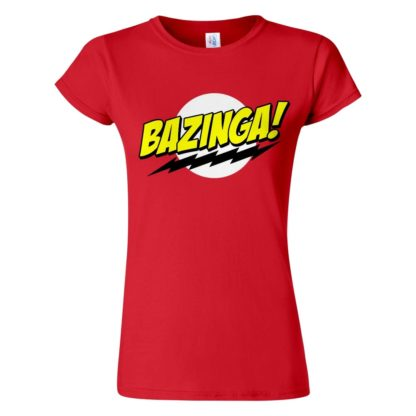 Női Bazinga póló piros színben - Agymenők póló - The Big Bang Theory