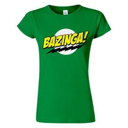 Női Bazinga póló zöld színben - Agymenők póló - The Big Bang Theory